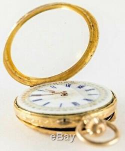 ANTIQUE SWISS 18K GOLD ORNATE LAPEL WATCH w BEAUTIFUL DIAL