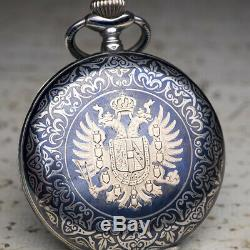 AUSTRIAN IMPERIAL PRESENTATION WATCH Niello Silver Antique Pocket Watch