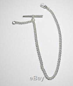 Albert Chain Solid Sterling Silver Pocket Watch Curb Fob. 925 Made in UK FA46