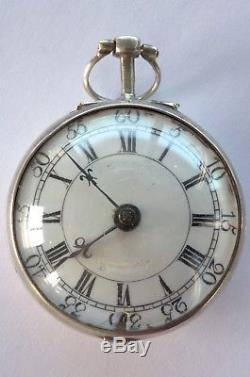 Amazing Antique Silver Repousse Pair Case Verge Fusee Pocket Watch 1769