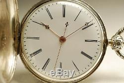 Ancienne montre gousset DUPLEX Chinoise ARGENT 1850 ANTIQUE SILVER POCKET WATCH