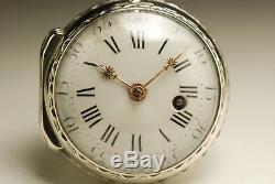 Ancienne montre gousset à coq ARGENT 1780 ANTIQUE SILVER FUSEE POCKET WATCH