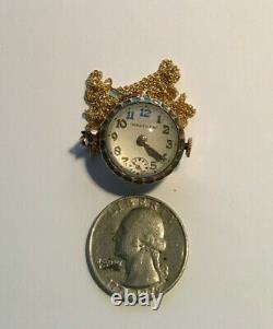 Antique 10k Waltham Rock Crystal Orb Pendant Watch Ser 30726802 9 Jwls, GF chain