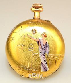 British Art Nouveau Lady's Pocket Watch Stand Enamel Silver 1899 Antique Jewelry & Watches