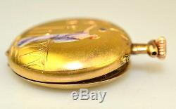 Antique 12k Gold Enamel Diamond Art Deco Woman Ladies French Pocket Watch As Is