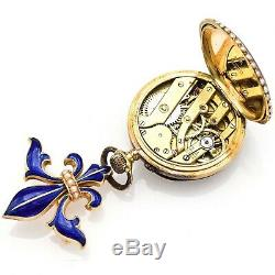 Antique 14K Gold Enamel And Pearl Pocket Watch With Swiss Movement