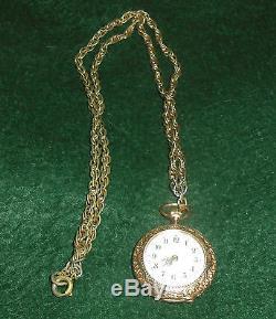 Antique 14K Gold Enamel Ladies Pocket Watch. 585 Swiss with Chain