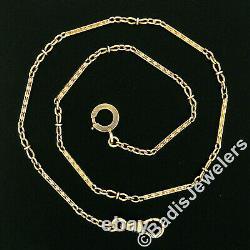 Antique 14K Gold Hand Engraved Bar Link 15 Pocket Watch Chain Concentric Clasp