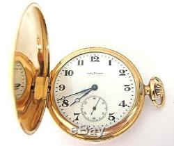 Antique 14K Solid Gold Waltham Pocket Watch, Hunter Case, S12,65.7 Grams, RUN