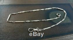 Antique 14K Solid White Gold Fancy Art Deco Link Fob Pocket Watch Chain 13.75