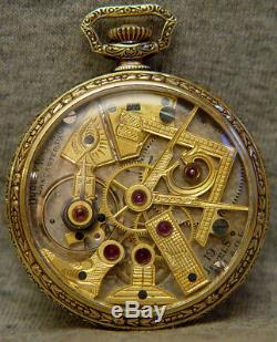Antique 14k Dudley masonic model 1 pocket watch 19 jewels lancaster pa