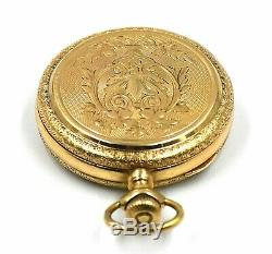 Antique 14k Gold Elgin Fancy Engraved Full Hunter Pocket Watch