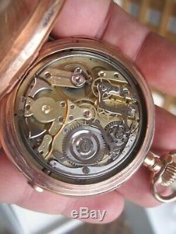 Antique 14k Gold Quarter Repeater Moonphase Chronograph Pocket Watch 124.93 Gr