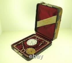 Antique 14k Gold Swiss Pocket Watch + 10k Gold Diamonds Pendant/fob Best Offer