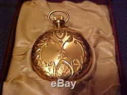 Antique 14k Solid Gold Pocket Watch Elgin Women`s Fancy Hunter`s Case Working