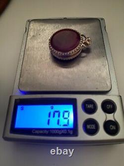 Antique 14k Y/Gold Swiss Pendant Pocket Watch Red Guilloche Enamel Seed Pearls