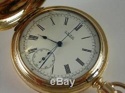 Antique 14s Waltham Chronograph Hunter case pocket watch. Serviced! Made 1886