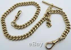 Antique 15 inch 9ct yellow gold double albert pocket watch guard chain 60.6 gms
