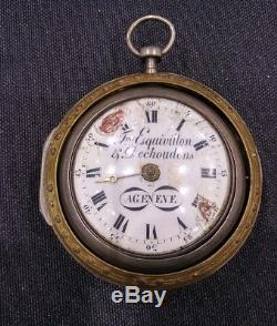 Antique 1700s Fres Esquivillon Dechoudens Triple Case Silver Fusee Pocket Watch