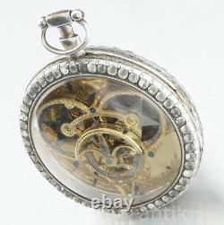 Antique 1790 Exceptional large fully skeletonized Verge Fusee pocket watch