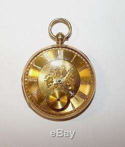 Antique 1853 Chester 18ct Gold Key Wind Open Face Pocket Watch