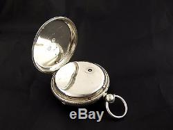 Antique 1863 Sterling Silver Fusee Diamond End Pocket Watch Davies Carmarthen