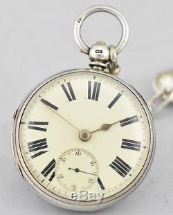 Antique 1872 Fusee Sterling Silver Pocket Watch And Fob Good Working Condition