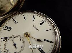 Antique 1878 Sterling Silver Full Hunter Rotherhams London Fusee Pocket Watch