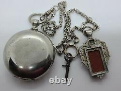 Antique 1880 ILLINOIS'Miller' 15J RR Key Wind Silver Pocket Watch withChain 18s