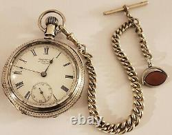 Antique 1883 WALTHAM Victorian 15J Gents 18s Coin Silver RR Pocket Watch withChain