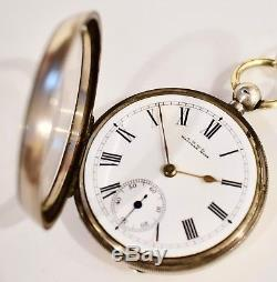 Antique 1889 Stg Silver Waltham K/W 18s O/F Pocket Watch Stg Chain & Fob Works