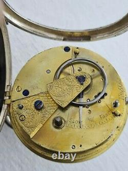 Antique 1890 Chester Big Fusee Solid Silver Pocket Watch Working Gift Box Rare