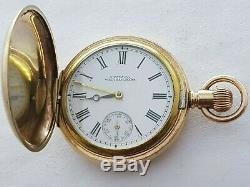 Antique 1891 Waltham U. S. A Full Hunter Gold Plated Small Pocket Watch