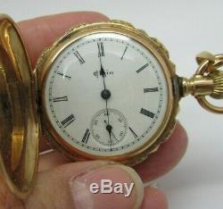 Antique 1893 Elgin Ladies 14k Solid Gold 7 Jewel Full Hunter Pocket Watch Runs