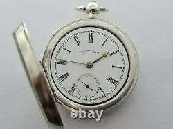 Antique 1895 Waltham Solid Silver Large 18S Pocket Watch Working VGC Rare