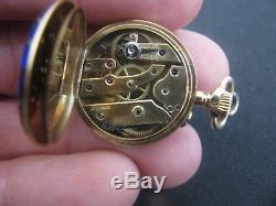 Antique 18K Gold Diamonds Enamel LeCoultre Ladies Pocket Watch Pendant Necklace