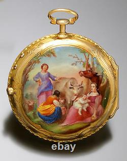Antique 18K Gold Verge Fusee Farm Scene Enamel Swing-Out Pocket Watch with Key