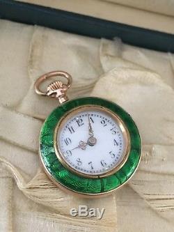 Antique 18K Solid Gold Enamel Ladies Pocket Watch Serviced 15 Grams