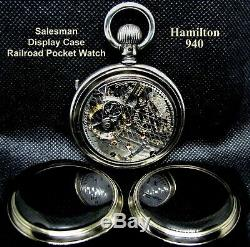 Antique 18 size 21 Jewel Display Case Railroad Pocket Watch Hamilton 940 Works