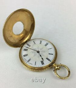 Antique 18ct Yellow Gold Baume Geneve B&L Fob / Pocket Watch Half Hunter