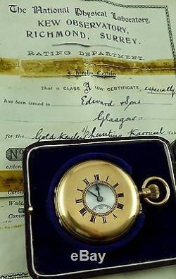 Antique 18ct gold 1/2 hunter Karrusel pocket watch with class A Kew certificate
