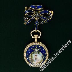 Antique 18k Gold Blue Enamel Diamond LeCoultre Pocket Watch Ribbon Bow Brooch
