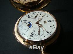 Antique 18k Solid Gold Perpetual Calendar Moon Phase Repeater Pocket Watch Swiss