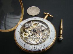 Antique 18k Solid Gold Skeletonized ¼ repeater Breguet verge fusee pocket watch