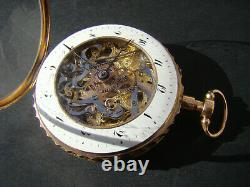 Antique 18k Solid Gold Skeletonized ¼ repeater geneve verge fusee pocket watch