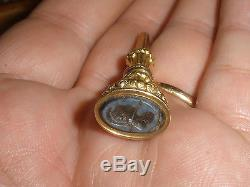 Antique 18k and 14k Gold wax Seal & Key fob for pocket watches French