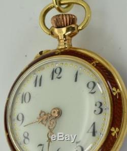 Antique 18k gold&enamel LeCoultre caliber ladies watch&Diamonds Brooch. Ottoman
