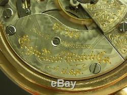Antique 18s Elgin Gr. 349 hi-grade 21j Rail Road pocket watch 1910. Amazing case