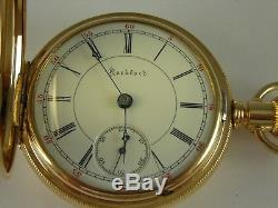 Antique 18s Rockford 15j Two tone pocket watch. Very nice Hunter's case! 1889