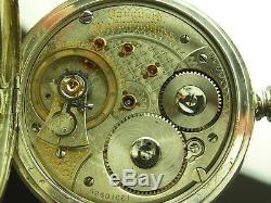 Antique 18s Waltham Vanguard 23 jewels Hunter case pocket watch. Sterling. 1902